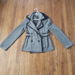 Obey Gray Pea Coat With Hood